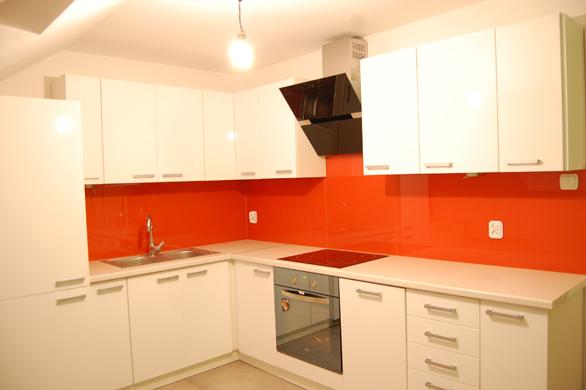 Mahon furniture orange and white kitchen for Orange white kitchen