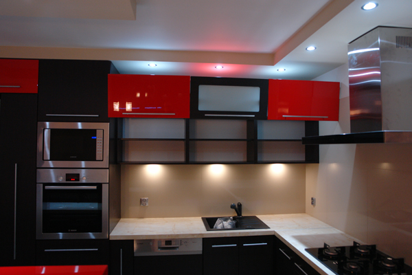 mahon furniture red and black kitchen